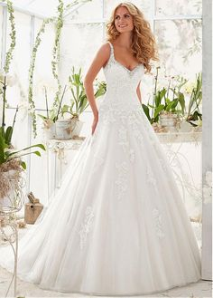 Buy discount Stunning Tulle V-neck Neckline A-line Wedding Dresses with Beaded Lace Appliques at Dressilyme.com