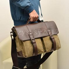 Men canvas leather #travel #shoulder business messenger bag satchel #school lapto,  View more on the LINK: 	http://www.zeppy.io/product/gb/2/371562855438/