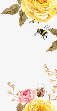 Yellow beautiful flower bees PNG and Clipart Flower Background Wallpaper, Flower Phone Wallpaper, Cute Wallpaper Backgrounds, Flower Backgrounds, Pretty Wallpapers, Aesthetic Iphone Wallpaper, Aesthetic Wallpapers, Bee Art, Flower Art