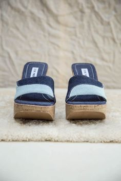 Cork Wedges, Denim Patchwork, Platform Wedge, Slide Sandals, Baby Blue, Blue Denim, Steve Madden, Indigo, Trainers
