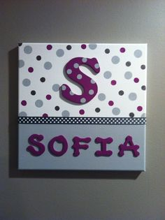 Custom Canvas Art with Name & Initial 12 x 12 by PrintsbyJaneLeone, $25.00