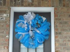 Deco mesh wreath I made this Christmas.  I may make them for sale next year.