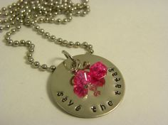 SAVE THE TATAS hand metal stamped glass by WhisperingMetalworks, $18.00