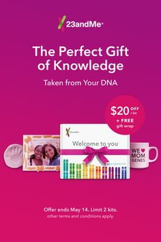 Don't wait! This Mother's Day, celebrate your mom's genes! Save $20 Today for Mother's Day!