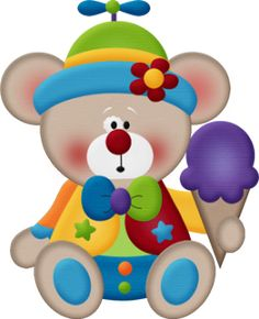 Circus Bear With Ice Cream - Clown Bear Watch, Adult Unisex, Lavender / Clipart - Full Size Clipart ( - PinClipart Circus Theme, Circus Party, Birthday Clipart, Birthday Wishes, Watercolor Clipart, Teddy Bear Images, Clown Party, Le Clown, Cute Clipart