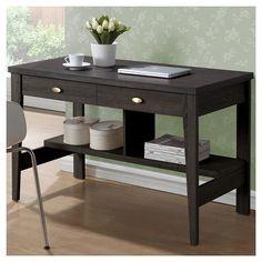 Folio Two Drawer Desk Black Espresso - CorLiving : Target
