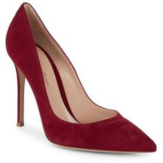 Gianvito Rossi Suede Pump Heels ($300) ❤ liked on Polyvore featuring shoes, pumps, slip on shoes, red stiletto pumps, red shoes, pointy-toe pumps and high heels pumps stilettos