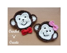THIS PATTERN IS AVAILABLE IN USA FORMAT ONLY Monkey face applique MATERIALS 4.00mm crochet hook Worsted weight #3 Measures approx 4.5 Inches Diameter (from ear to ear) I am always at the end of an email should you require any help. crochetncreate@btinternet.com My patterns are