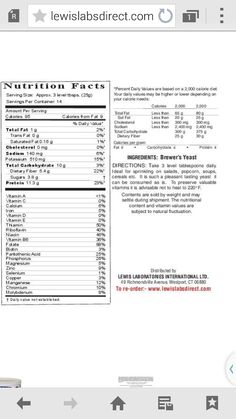 Nutrition Facts on Brewers Yeast Brewers Yeast, Benefit, Nutrition, Facts, Truths