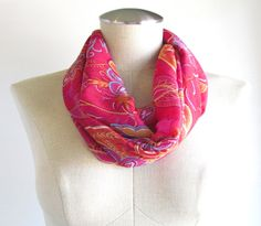 Pink Paisley Infinity Scarf  Paisley Scarf  Pink by EyeCandy395, $20.00