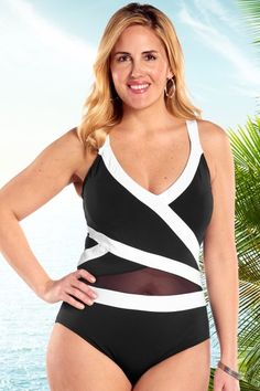 a6970e8a84ccc Swim sexy wearing the Mesh Insert Plus Size Swimsuit by Anne Cole. Crafty  color blocking