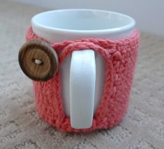 Crochet coffee cup cozy.  Too cute!