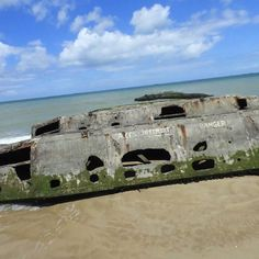 Remains of the artificial harbor in Arromanches Normandy in 360.