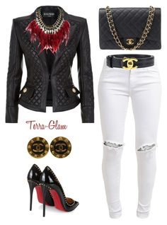 Chanel Shenanigans by terra-glam on Polyvore featuring polyvore fashion style Balmain FiveUnits Christian Louboutin Chanel WithChic