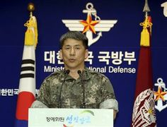 South Korean Army Col. Eom Hyo-sik gives a briefing on a North Korean navy ship which fired two artillery shells in the Yellow Sea, at the Defense Ministry in Seoul, South Korea, Thursday, May 22, 2014. (AP Photo/Yonhap, Choi Jae-gu) KOREA OUT ▼23May2014AP|N. Korean shelling a likely warning, not attack http://bigstory.ap.org/article/report-n-korea-fires-near-s-korean-warship #Eom_Hyo_sik