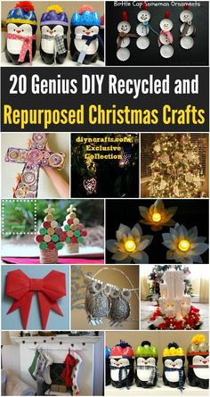 20 Genius DIY Recycled and Repurposed Christmas Crafts - Really good ideas for a frugal Christmas decorating experience, these are so Easy; there's something for everyone.