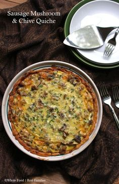 Sausage Mushroom Quiche with Chives is warm, savory and sure to please everyone, including the cook because it comes together easily for weeknight meal.