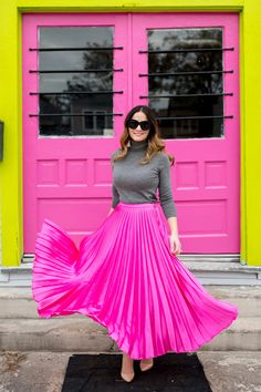 Pink Pleated Flare Skirt