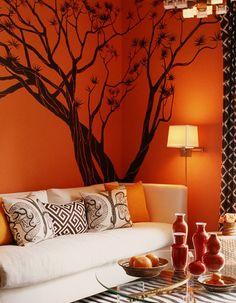 #10decoracion sala-estar-naranja