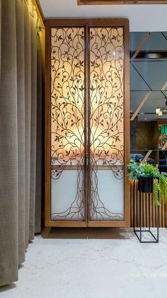 Glass Partition Designs, Living Room Partition Design, Pooja Room Door Design, Living Room Tv Unit Designs, Home Room Design, Home Interior Design, House Design, Temple Design For Home, Mandir Design