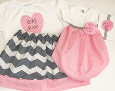 Matching SISTER Outfit..Girls baby gown, headband and big sister shirt - Coming…