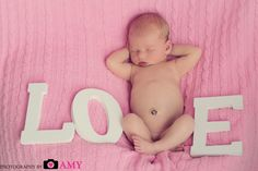Newborn photo, studio photography, baby girl picture, love letters