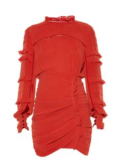 Victorian details and contemporary shape collide in Isabel Marant's red stretch-silk Qods dress. The high neckline and long sleeves are trimmed with delicate ruffles, and the body is ruched for an on-point fit. Team it with over-the-knee boots for a seductive finish.