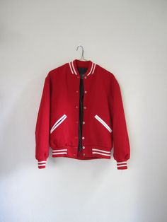 $38 Vintage Varsity Letterman Jacket, Red and White, Men's Size 40 Medium