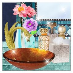 """Powder Room"" by frenchfriesblackmg ❤ liked on Polyvore featuring interior, interiors, interior design, home, home decor, interior decorating, Versace, Dot & Bo, Jessica Simpson and Calvin Klein"