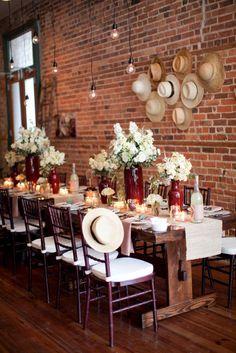 beautiful table setting - red & tan