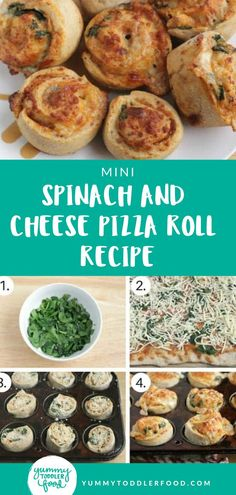 Check out this recipe for easy to make homemade mini spinach and cheese pizza rolls for an easy toddler meal the kids will love. This recipe is packed with nutrition, but the cheese, and silly spiral shape makes them appealing to toddlers and big kids. #toddlerdinner #toddlermeal #pizzarolls #pizzarollrecipe Healthy Toddler Meals, Toddler Lunches, Kids Meals, Family Meals, Easy Meals, Toddler Food, Toddler Dinners, Pizza Recipes, Baby Food Recipes