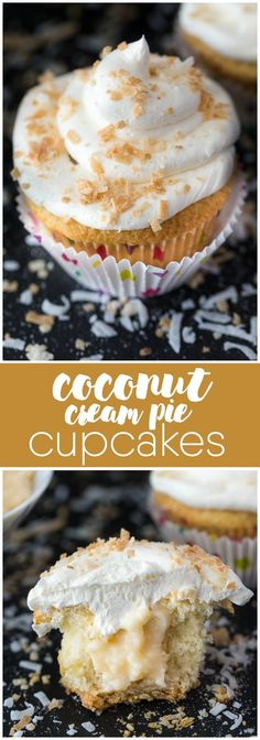 Coconut Cream Pie Cupcakes - Think Coconut Cream Pie but in a cupcake form. They…