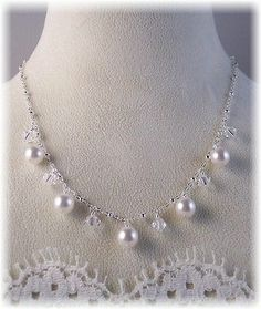 New W/Swarovski Clear Crystal And White Pearl Dangle Necklace