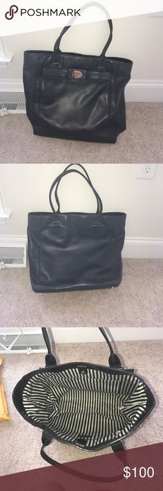 Kate Spade Purse/Tote This is a lightly used beautiful black Kate Spade tote! It is very functional, I just have bought a new one and no longer use it! This bag can definitely be used for a laptop bag for work or school as well. It is big enough to fit folders in so it would be perfect! Make me an offer! kate spade Bags Totes