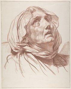Jean-Baptiste Greuze (1725–1805), Head of an Old Woman Looking Up, n.d.; Red chalk, 41.3x32.7 cm   Metropolitan Museum of Art