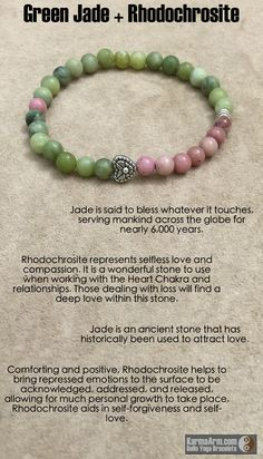 Rhodochrosite represents selfless #love and #compassion.  TRUE LOVE: Green Jade + Rhodochrosite + Heart Yoga Mala Bead Bracelet
