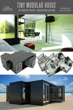 Unusual and elegant tiny modules for interconnecting vertically and horizontally. Perfect for country or city living Small Cabin Plans, A Frame House Plans, Building A Container Home, Container House Design, Container Houses, Tiny House Trailer, Tiny House Cabin, Modern Tiny House, Tiny House Design