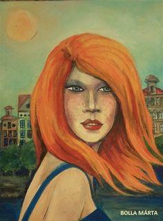 Red Peril - Vörös veszedelem Acrylic on canvas - 18 x 24 cm - by Márta Bolla - Hungary Hungary, Portraits, Paintings, Canvas, Red, Women, Paint, Head Shots, Painting Art