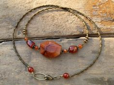 Carnelian Necklace beaded necklace with von ArtifactsEtCetera