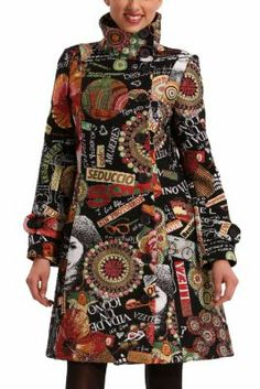 Desigual women's Collage Femina coat. There's nothing better than colours, patterns and good vibes to face the cold, and we're experts in all of those things.