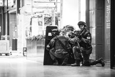 Military police training in a mall Helsinki Finland [2592x1728]