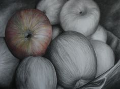 Still life - bowl of apples in charcoal with a bit of watercolor! http://emily-scheer.artistwebsites.com/