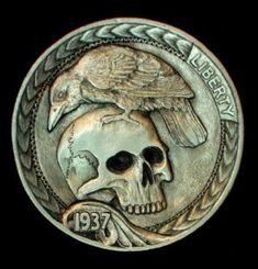 "This is a modern carved 'hobo nickel' made from a 1937 Buffalo nickel by Howard Thomas. This one is a skull and raven he calls ""Only This and Nothing More"". There are several pictures of this one at different angles to show the depth of the carving. It is signed on the back by Howard."