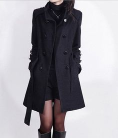 women's Cashmere Coat Double Breasted Fitted Wool Coat jacket black Long coat S-XXL on Etsy, 54,44 €