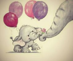 Image via We Heart It https://weheartit.com/entry/137513692/via/14064004 #baby #balloons #cute #drawing #elephant #flower #gift #mother