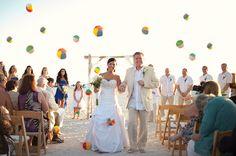 10 Cute Clever Alternatives to the Wedding Rice Toss: ceremony exit with mini beach balls Wedding Recessional, Wedding Exits, Wedding Venues Beach, Beach Ceremony, Hotel Wedding, Our Wedding, Destination Wedding, Wedding Planning, Dream Wedding