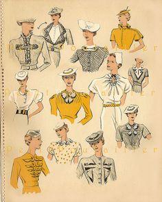 1934 Détails Idees Couture, 1 by Le Petit Poulailler, via Flickr 1930s Fashion, Mod Fashion, Vintage Fashion, Vintage Dress Patterns, Vintage Dresses, Vintage Outfits, 20th Century Fashion, Moda Vintage, Love Clothing
