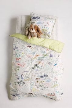 Keep your baby safe and warm with toddler and crib bedding from Anthropologie. Browse our quilts and bedding sets for the perfect pop of fun. Vernon, Map Quilt, Quilts, Beds For Kids Girls, Toddler Quilt, Sleeping Under The Stars, Childrens Beds, Twin Quilt, Textiles