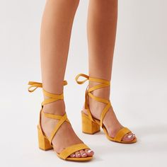 ce5ab51beb5 Sophie Heeled Sandals in Yellow Faux Suede. Public Desire US
