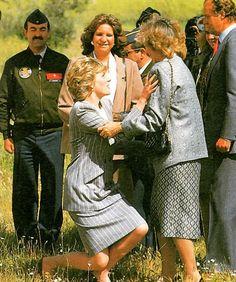 24 .April 1987: Princess Diana und Königin Sofia und König Juan Carlos und Elena von Spanien